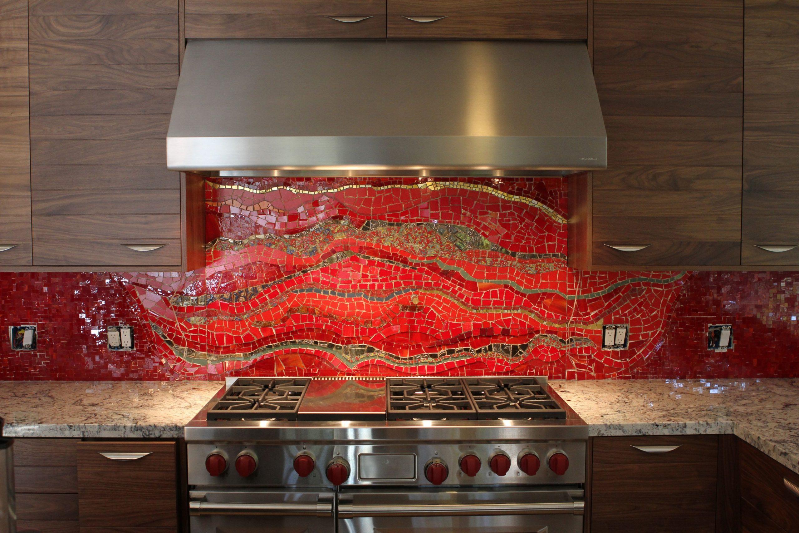 bethpurcellmosaics red kitchen backsplash  Mosaic backsplash  - Backsplash For Red Kitchen Cabinets