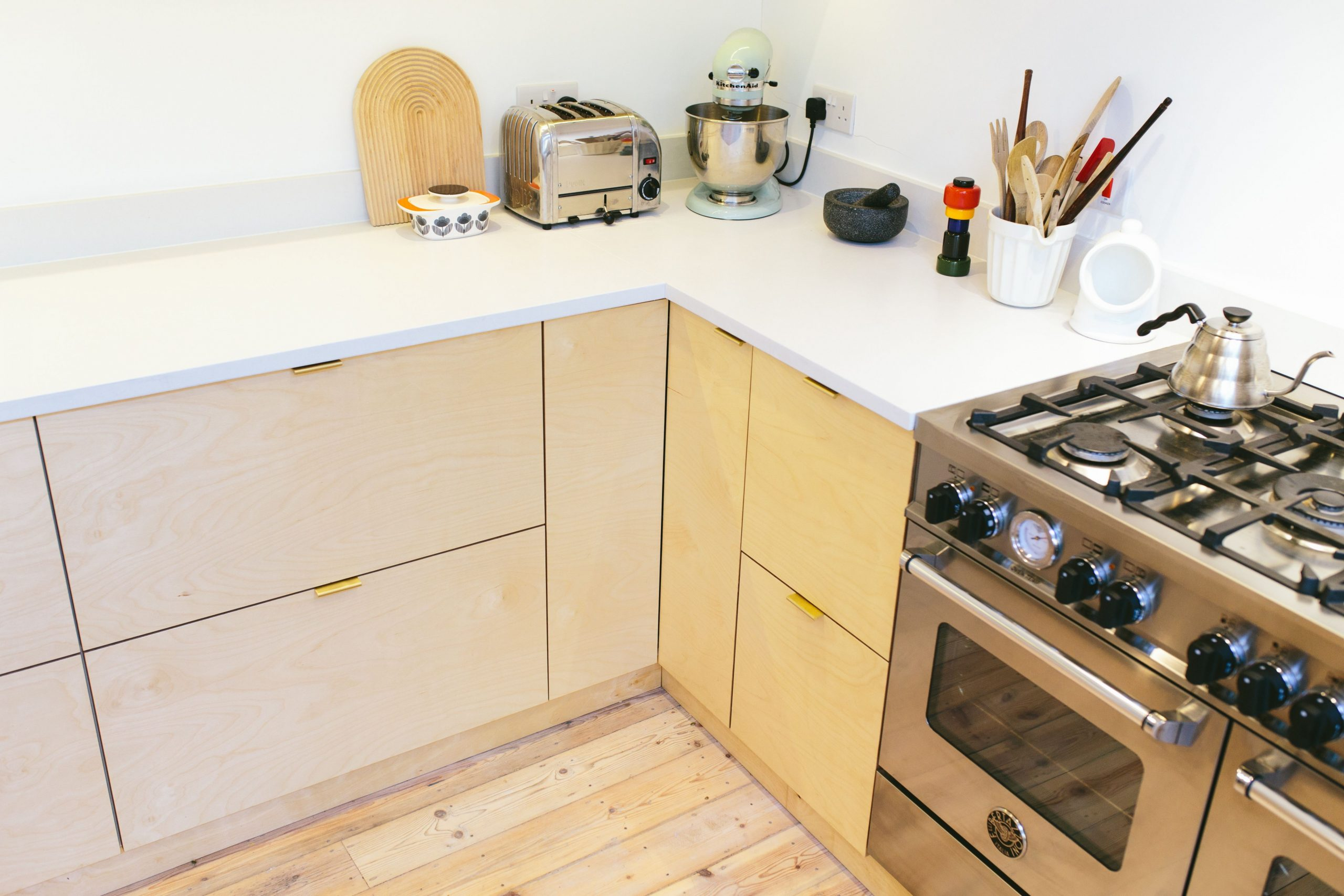 Birch faced plywood kitchen using IKEA base units and Plykea doors  - Birch Kitchen Cabinet Doors