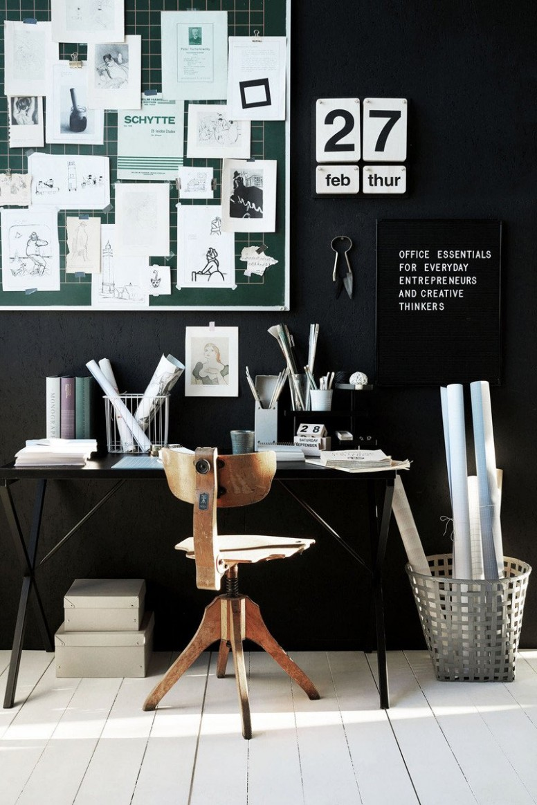 Black and white home office ideas  House Doctor stockist  Papermash - Home Office Ideas Black