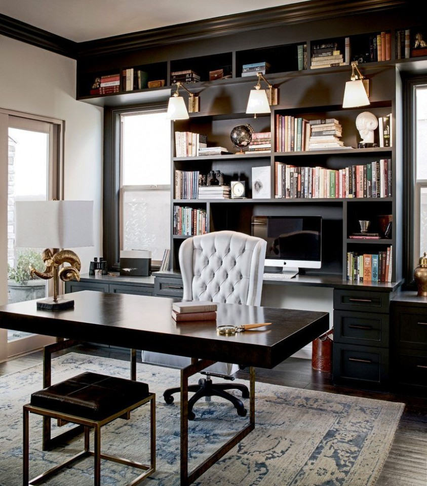 black built home office traditional with black office cabinets  - Home Office Ideas Black