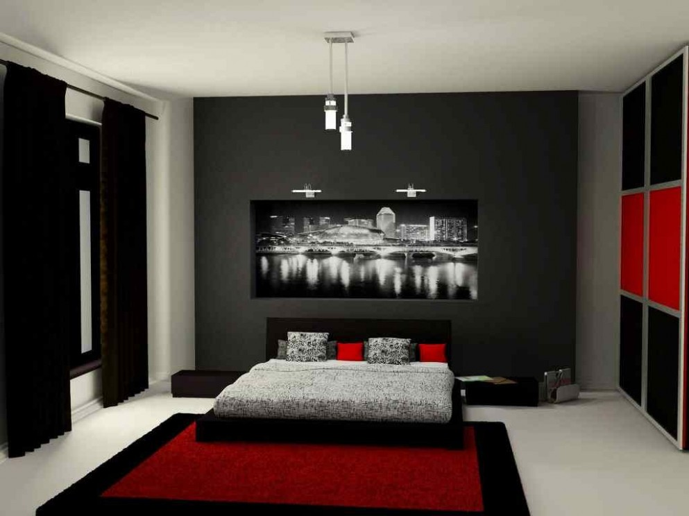 black grey red bedroom - Google Search  Black bedroom decor, Red  - Bedroom Ideas Red Black And White