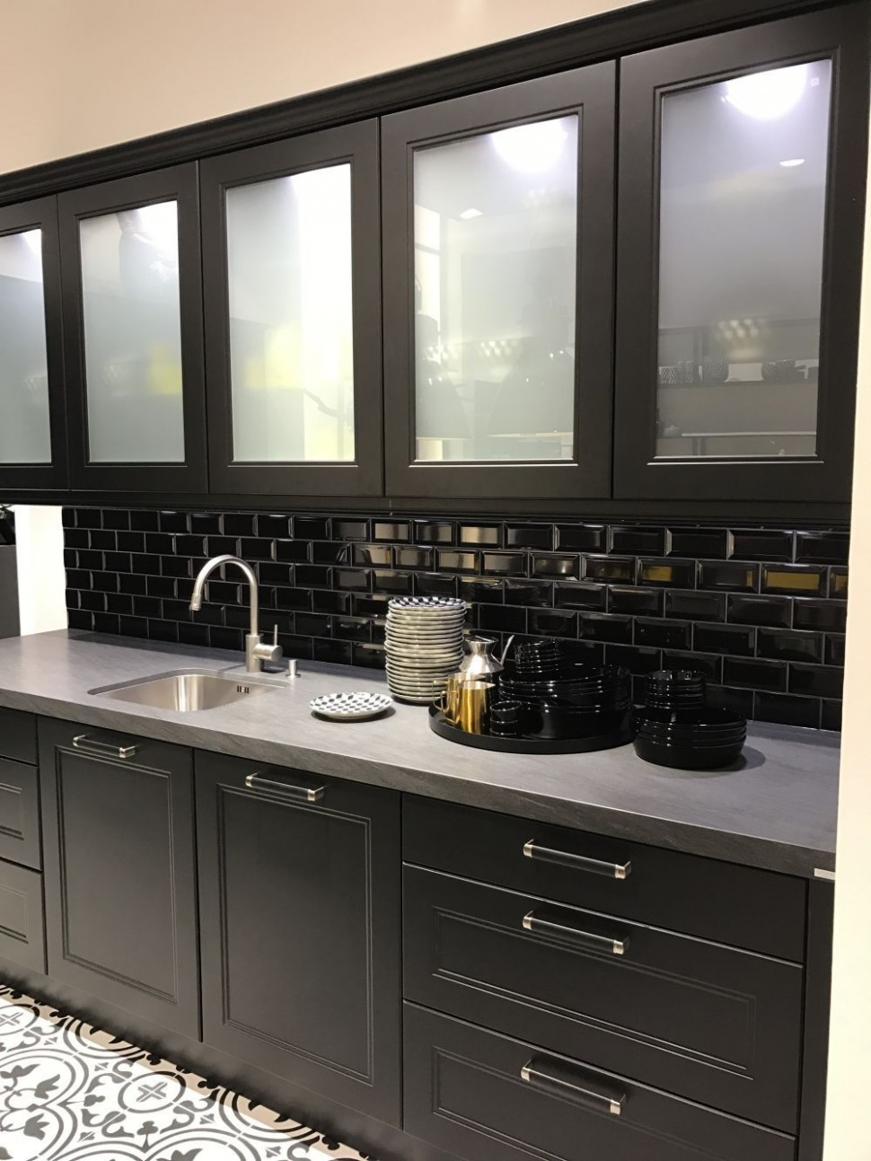 Black kitchen cabinets with subway tiles and white frosted glass  - Frosted Cabinets Kitchen