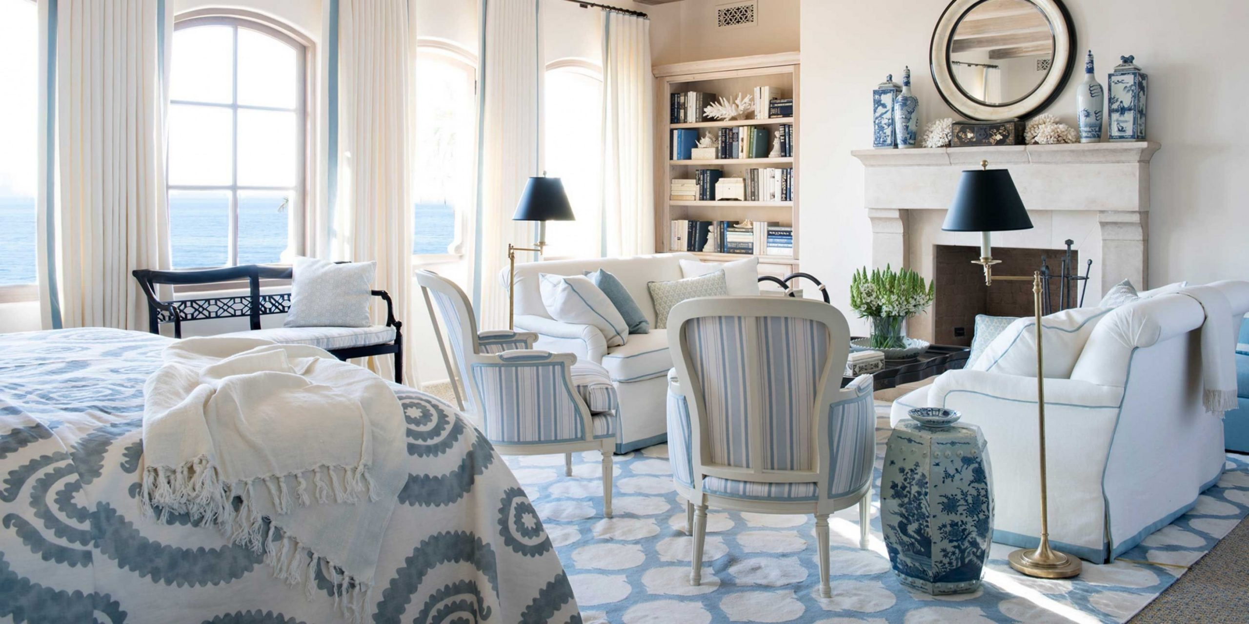 Blue and White Rooms - Decorating with Blue and White - Bedroom Ideas Blue And White