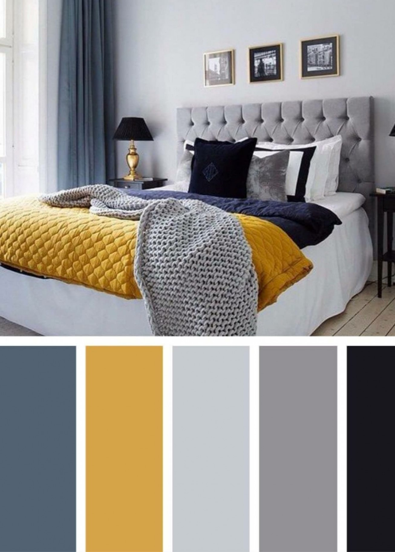 Blue, mustard, greys, Black