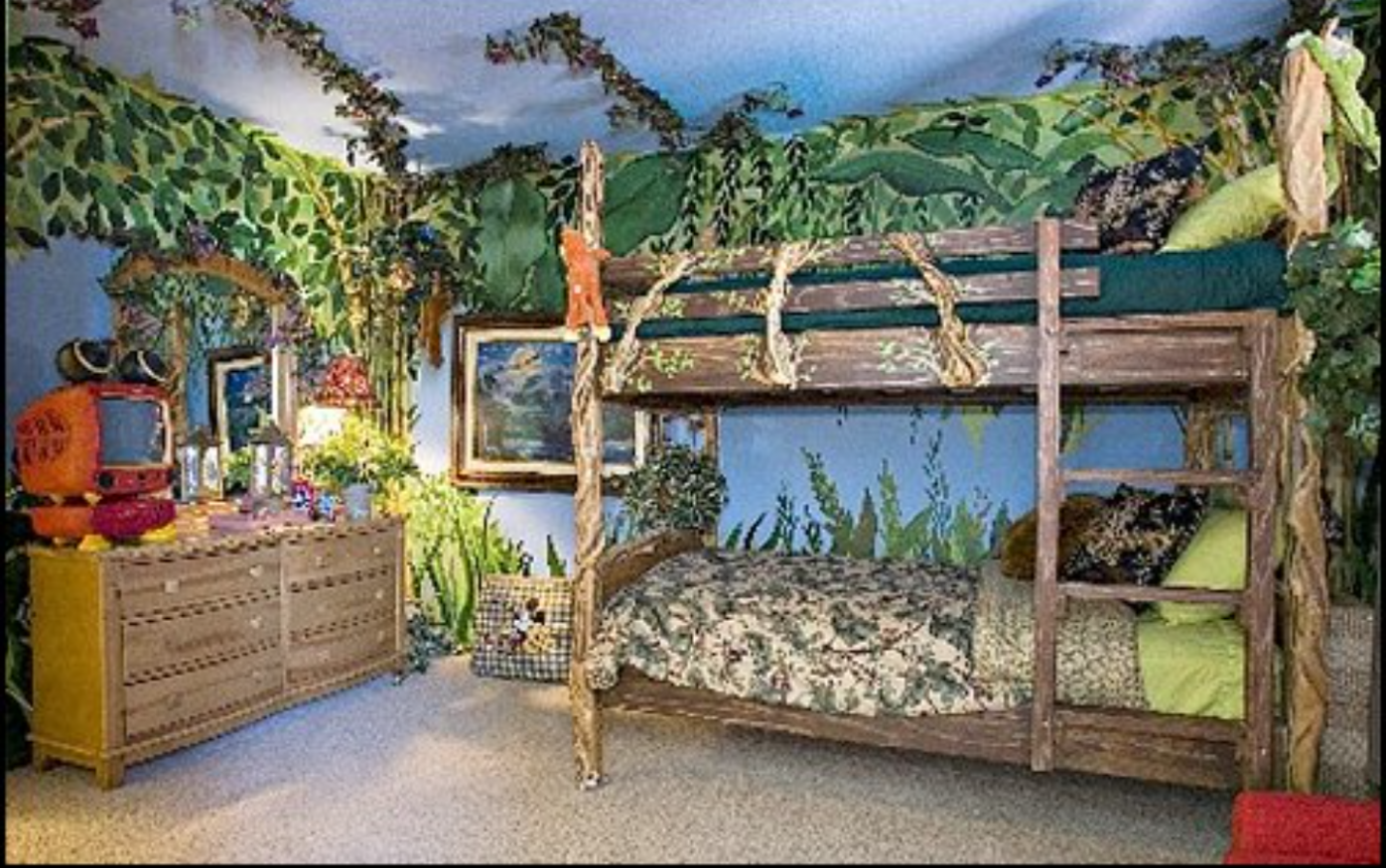 Camo jungle/forest/woods themed bedroom for boys!  Jungle bedroom  - Childrens Bedroom Ideas Jungle