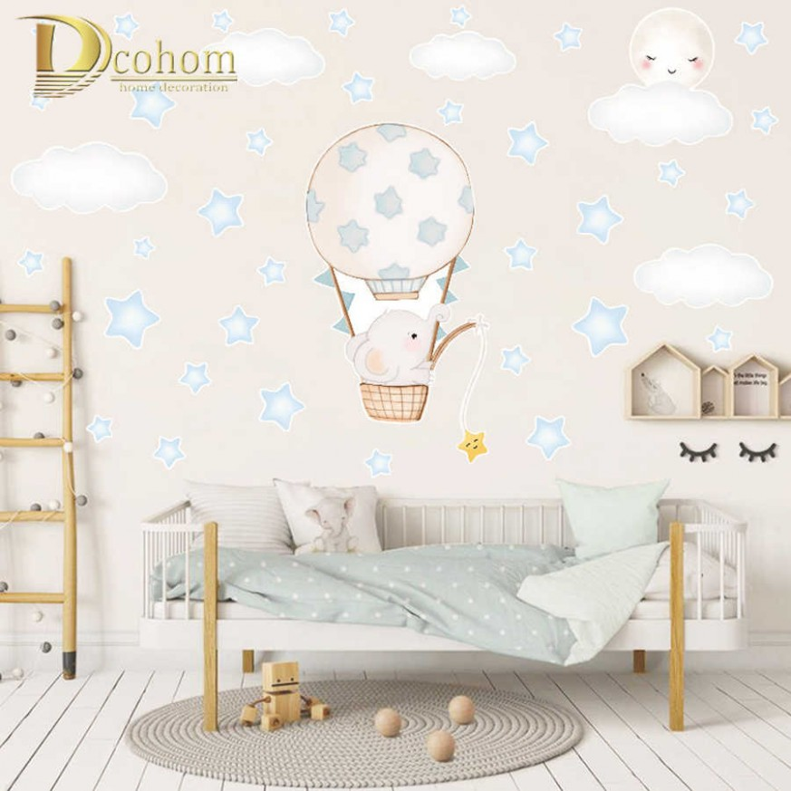 Cartoon Balloon Elephant Wall Stickers Kids Room Decoration Baby  - Baby Room Stickers
