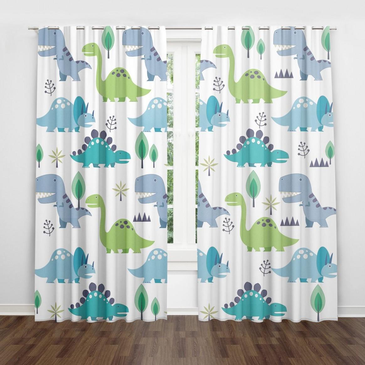 Cartoon Dinosaur Cute Kids Room Nursery Curtains Lovely Children  - Baby Room Valances