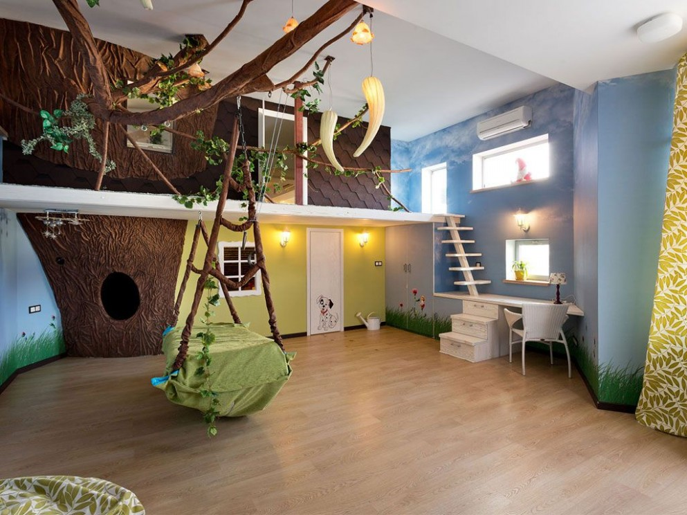 charming-boys-bedroom-with-jungle-themed-decor-ideas-with-swing  - Childrens Bedroom Ideas Jungle