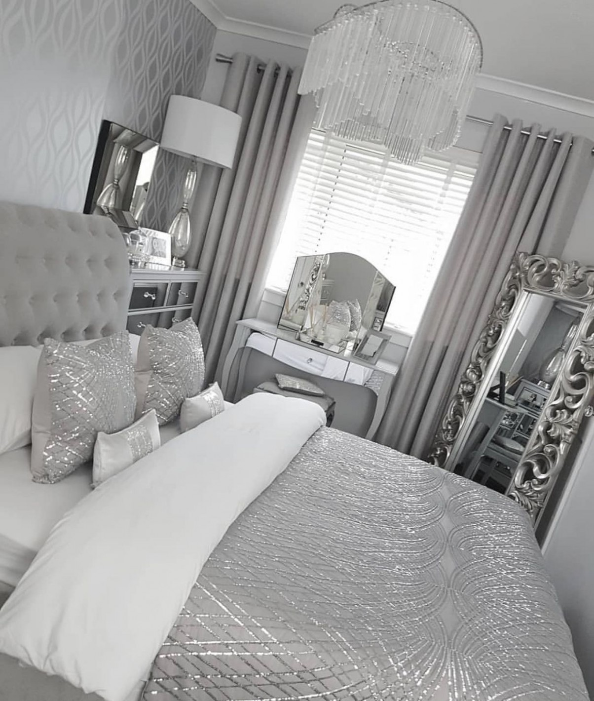 Check out @simonelovee ❤️  Silver bedroom decor, Comfortable  - Bedroom Ideas Silver