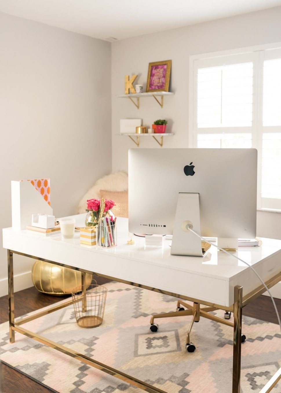 Chic Office Essentials - Fancy Things  Home office space, Home  - Home Office Ideas White