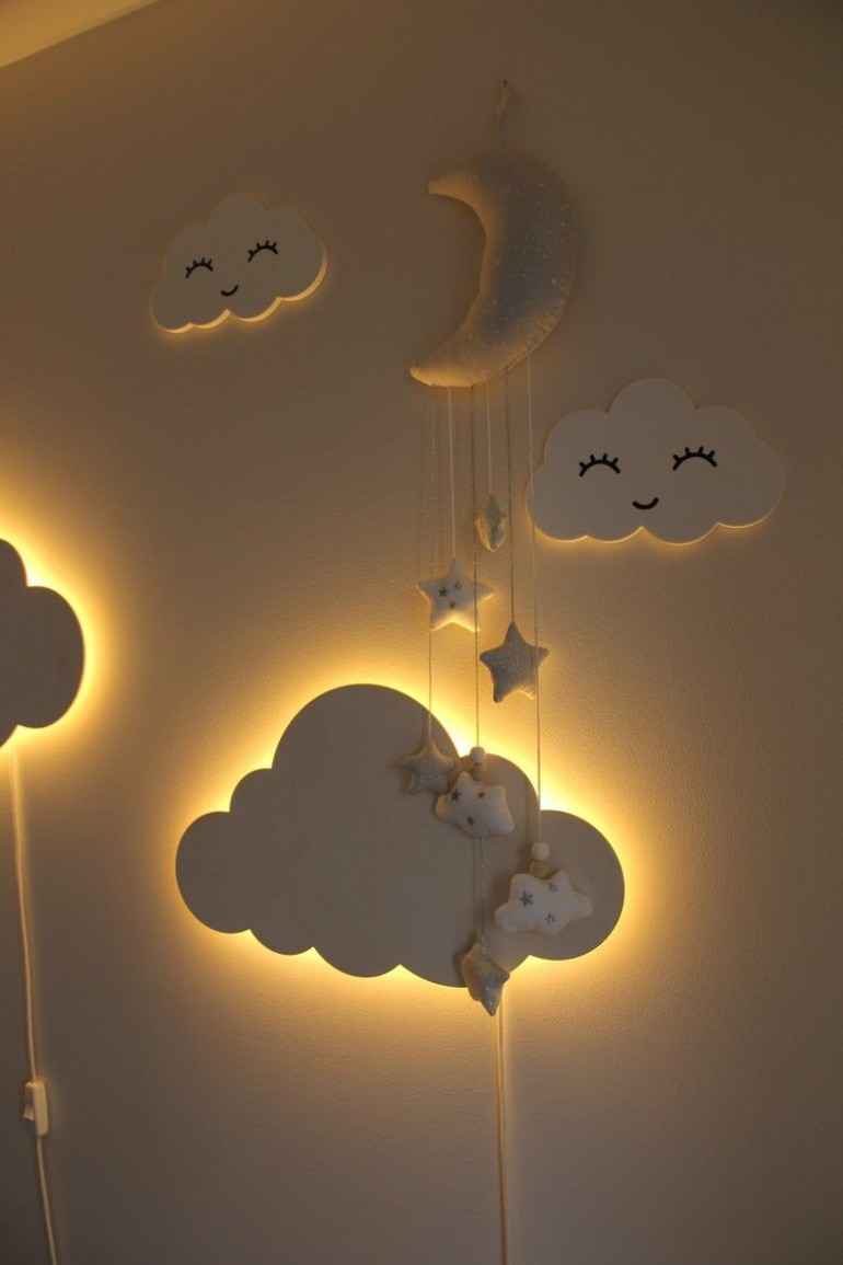 Cloud Night Light Wood Kids Lamp Baby Room Led Lamp Nursery  Etsy  - Baby Room Night Light