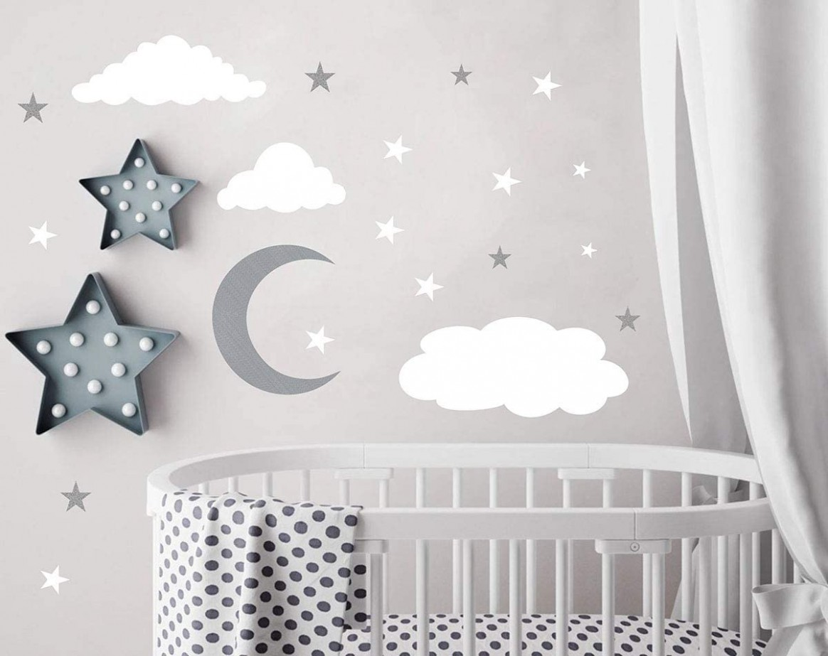 Clouds Wall Decals Moon and Stars Wall Decal Kids Wall Decals Wall Stickers  Peel and Stick Removable Wall Stickers Baby Room Decoration Good Night  - Baby Room Stickers