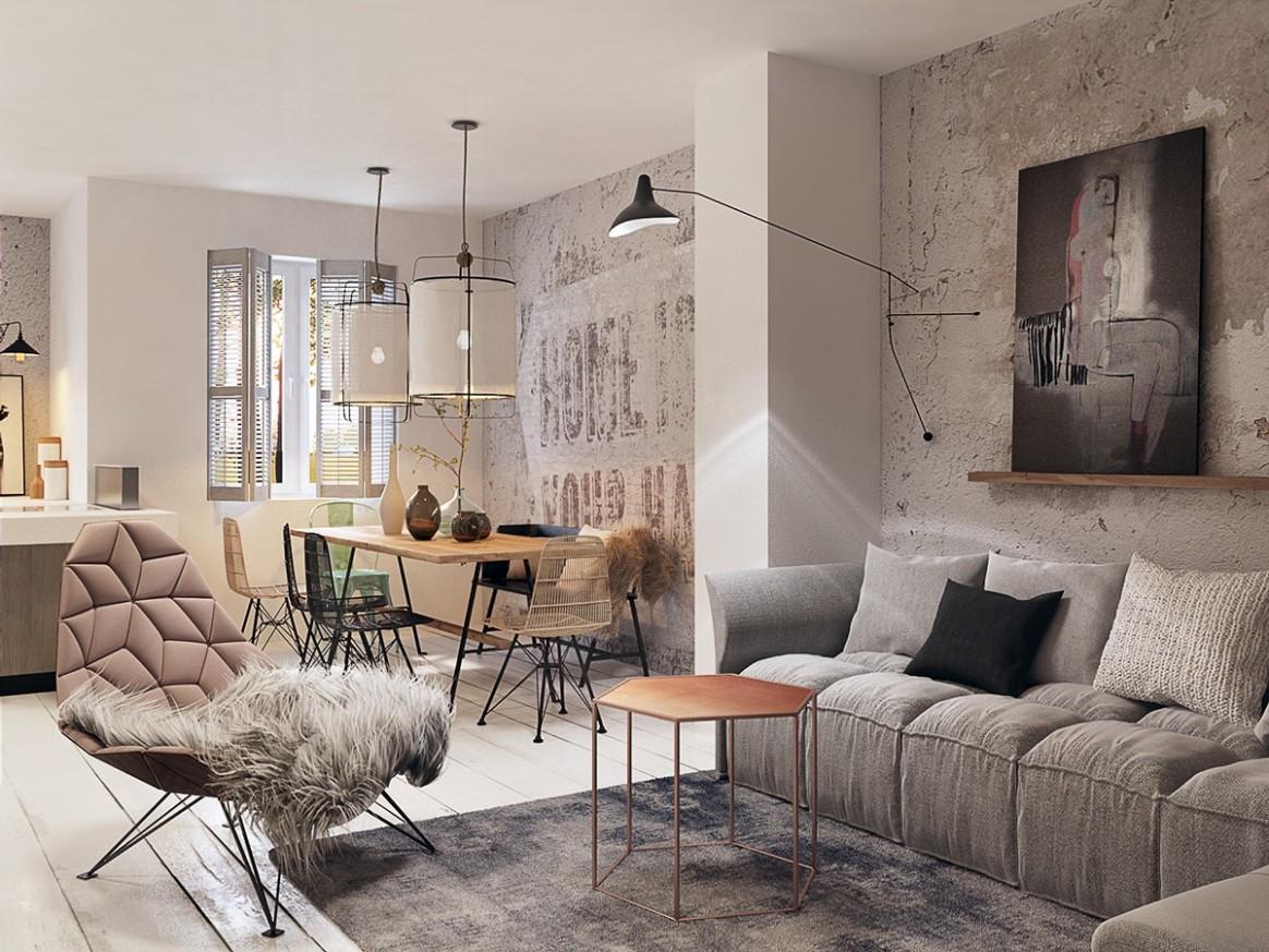 Concrete Finish Studio Apartments: Ideas & Inspiration - Apartment Wall Design