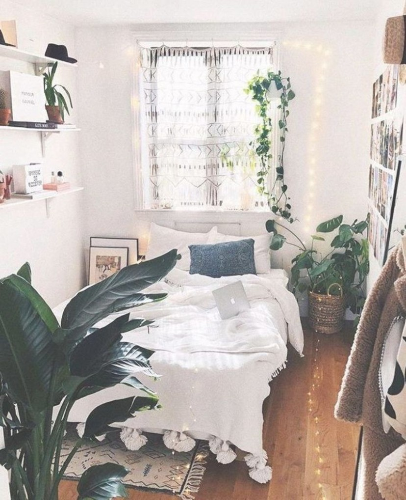 Cozy bedroom featuring tons of greenery and plants  Boho bedroom  - Bedroom Ideas Plants
