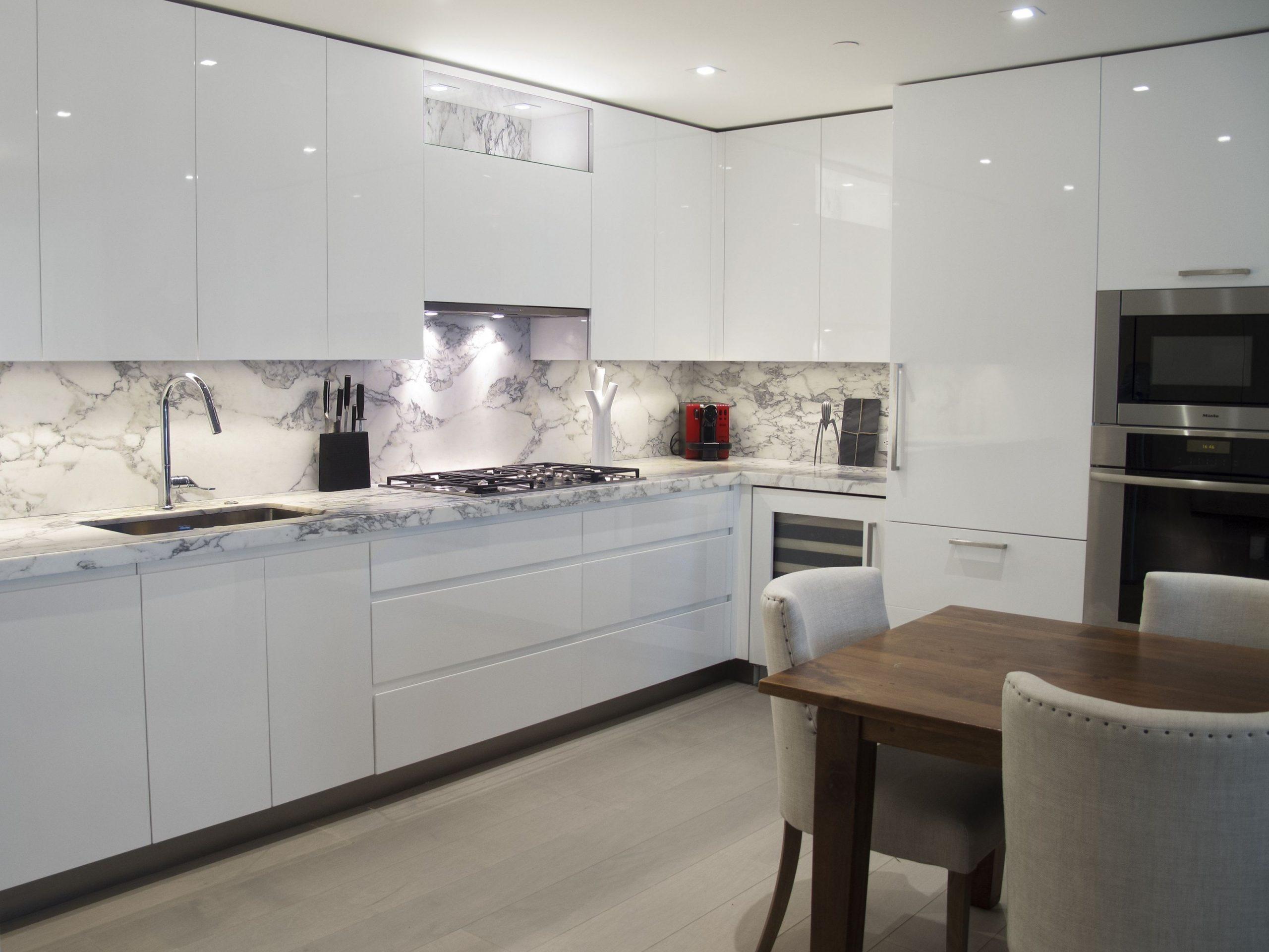 Custom Kitchen Design - White high-gloss handle-less cabinetry  - Kitchen Cabinets Gloss White