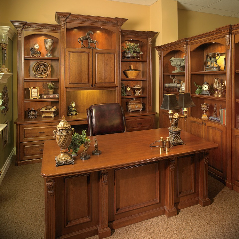Custom Made Executive Desk with Wall Unit - Transitional - Home  - Executive Home Office Ideas
