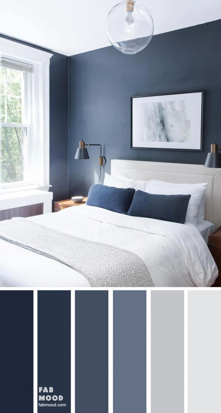 Dark blue and light grey bedroom color scheme - Bedroom Ideas Dark Blue
