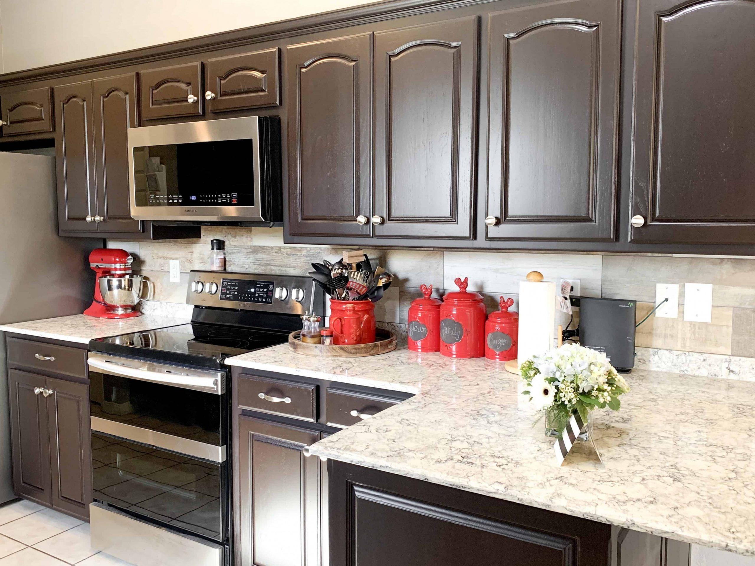 dark brown cabinets, espresso cabinets, espresso painted kitchen  - Brown Colored Kitchen Cabinets