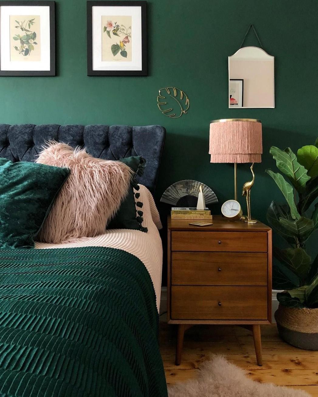 Dark green bedroom ideas #cosybedroom #moodycolours #greenbedroom  - Bedroom Ideas Green