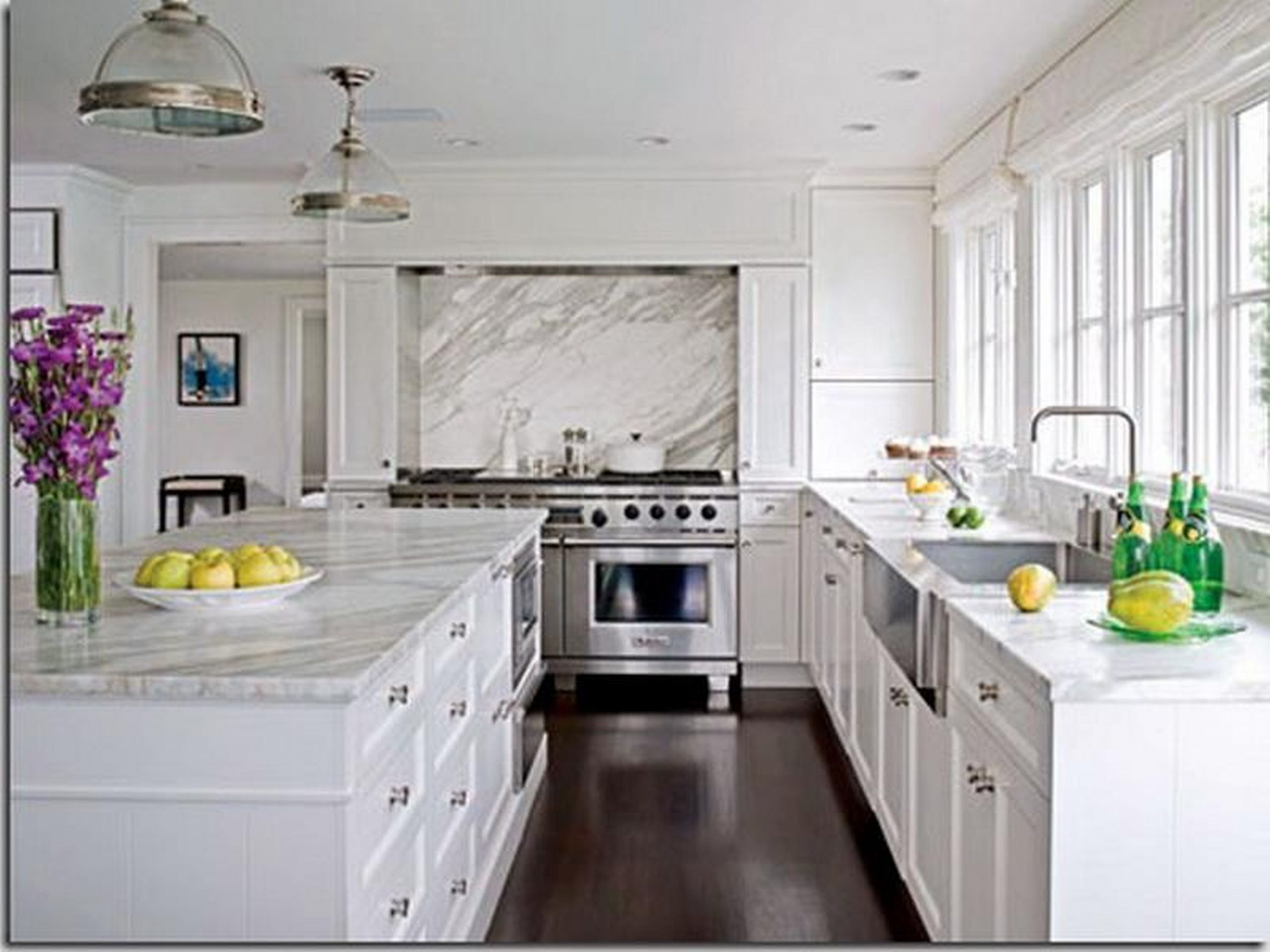 Decor & Tips: Beautiful White Kitchen Cabinet And White Granite  - White Kitchen Cabinets And Quartz Countertops