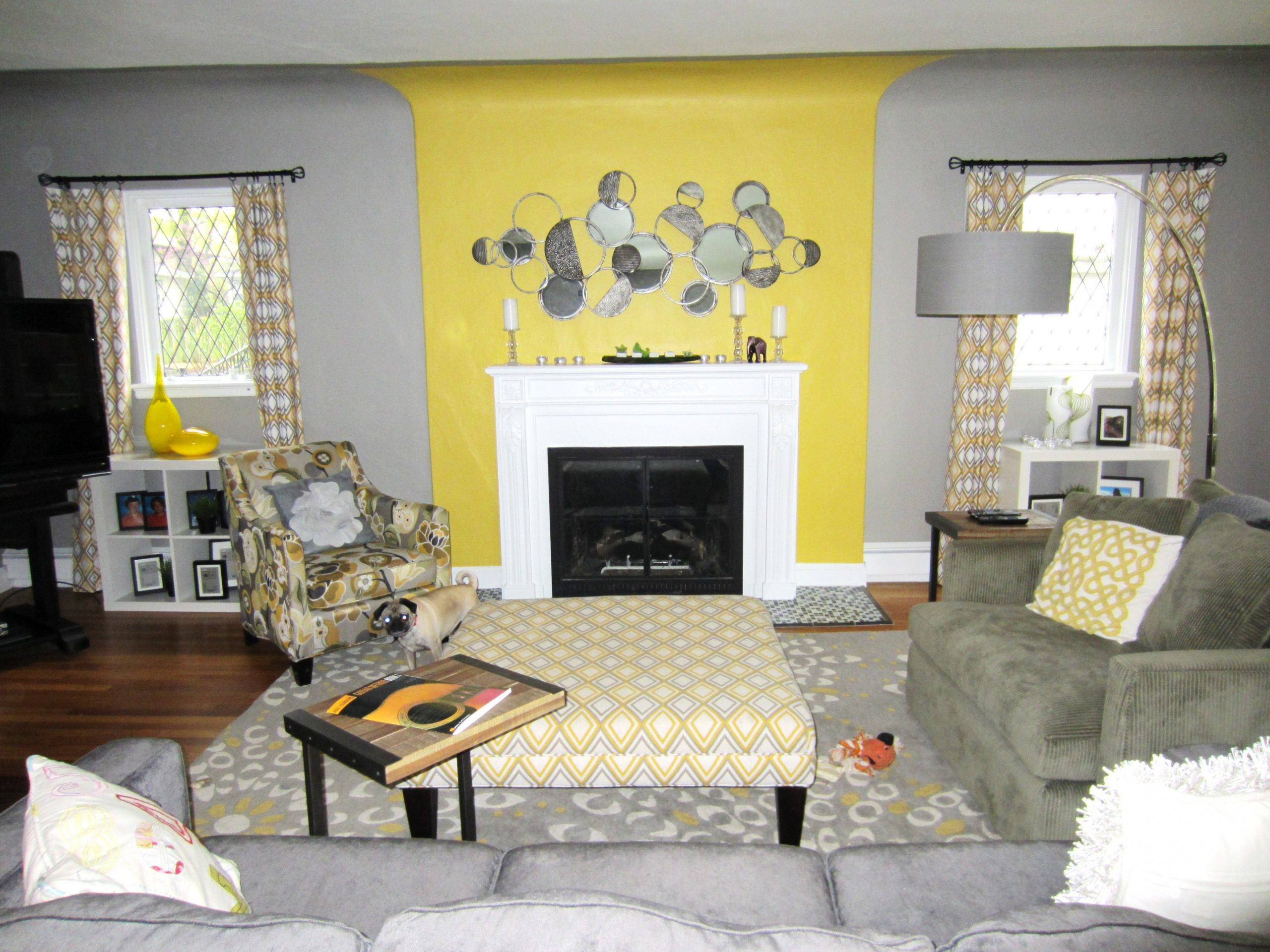 Dining Room Gray With Yellow Living Grey Walls Brown And White  - Grey Yellow Dining Room Ideas