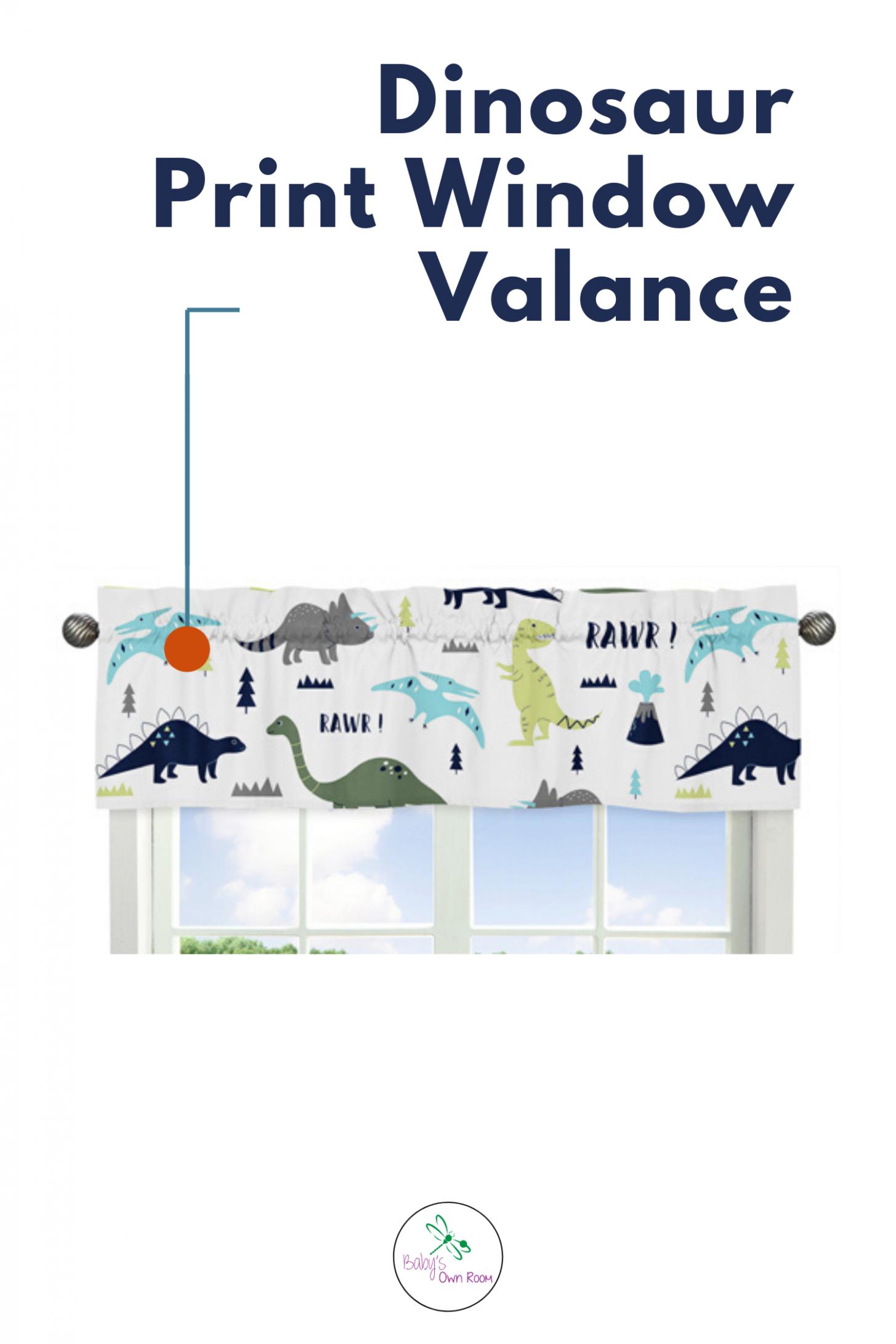 Dinosaur Blue and Green Collection Dinosaur Print Window Valance  - Baby Room Valances