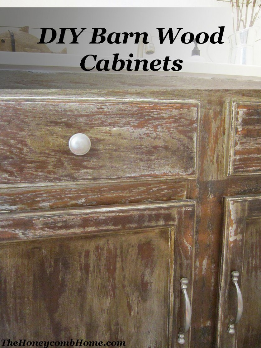 DIY Barn Wood Cabinets - The Honeycomb Home in 11  Barn wood  - How To Make Wood Kitchen Cabinets Look Better