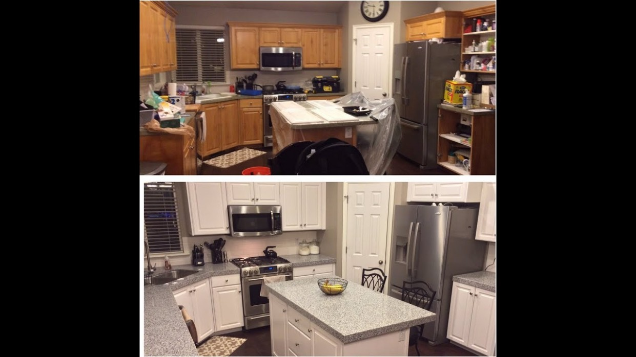 DIY-PAINTING KITCHEN CABINETS WHITE! - Youtube Painted Kitchen Cabinets