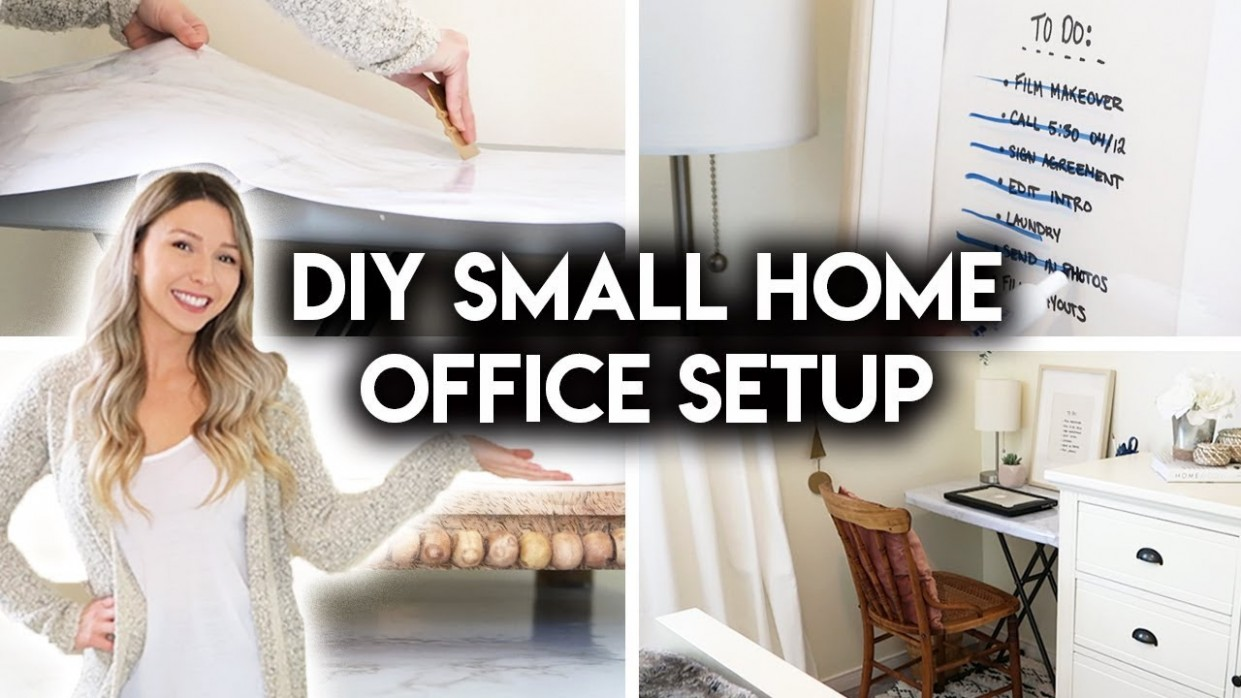 DIY SMALL HOME OFFICE  SIMPLE WORKSPACE IDEAS - Home Office Ideas Diy