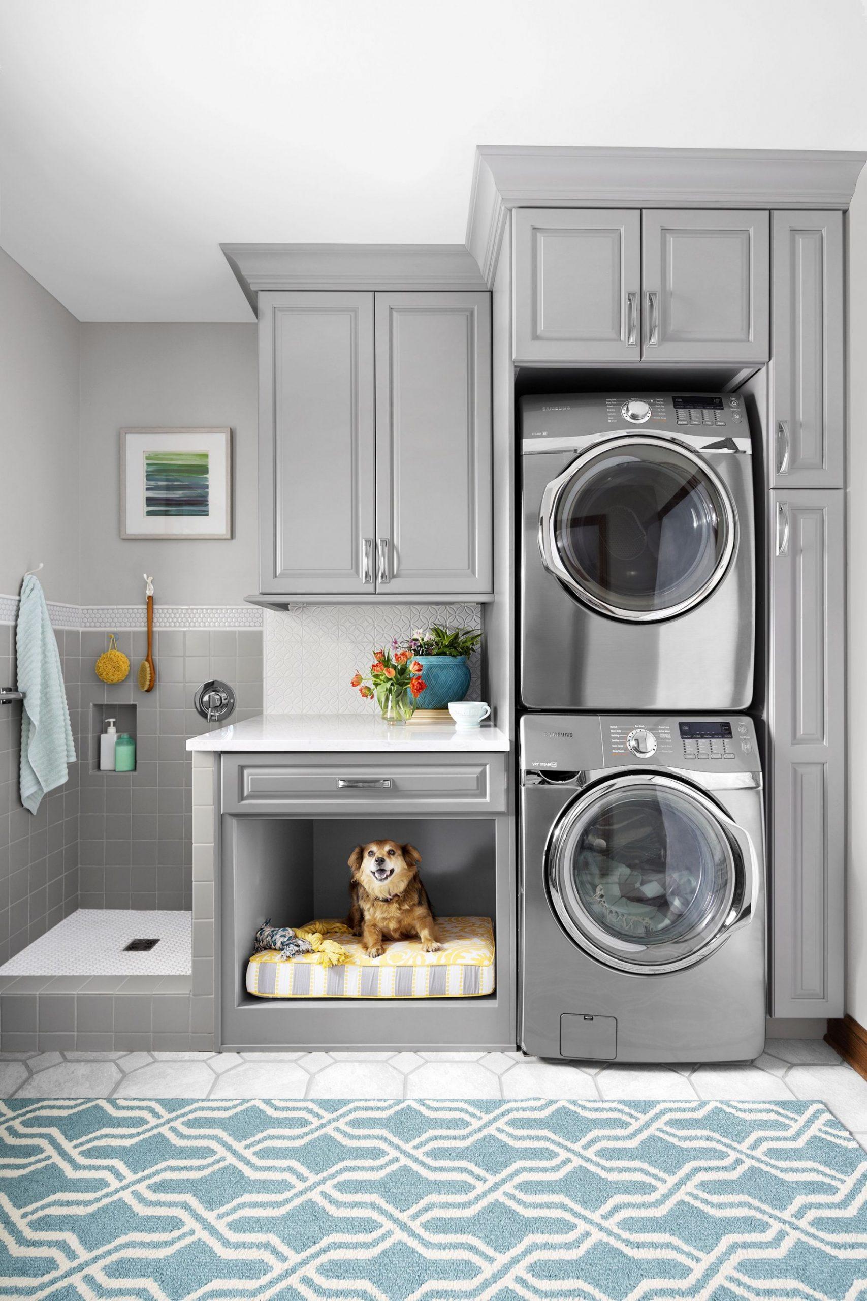 Ducha para perros, lavadoras y secadoras, almacenaje y lugar para  - Laundry Room Office Ideas