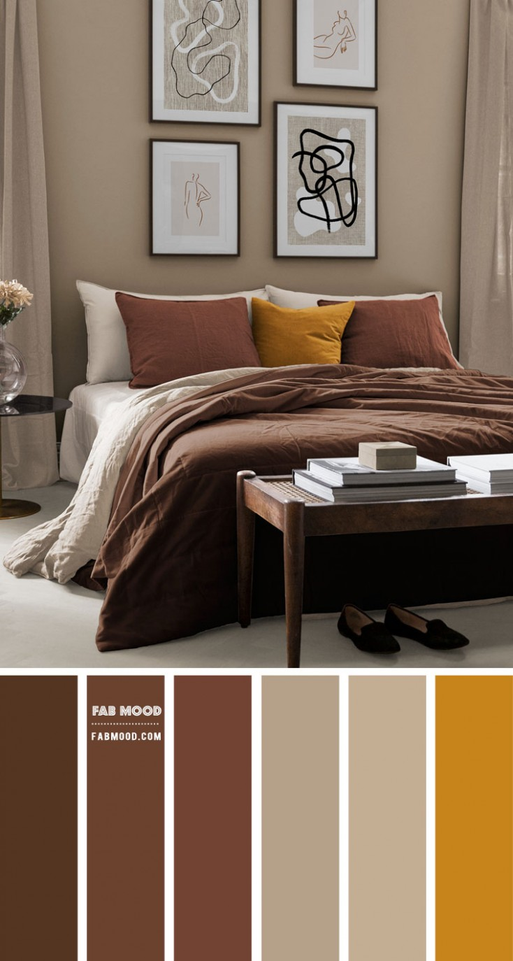 Earth Tone Bedroom  Brown + Spice + Warm Taupe  - Bedroom Ideas Earth Tones