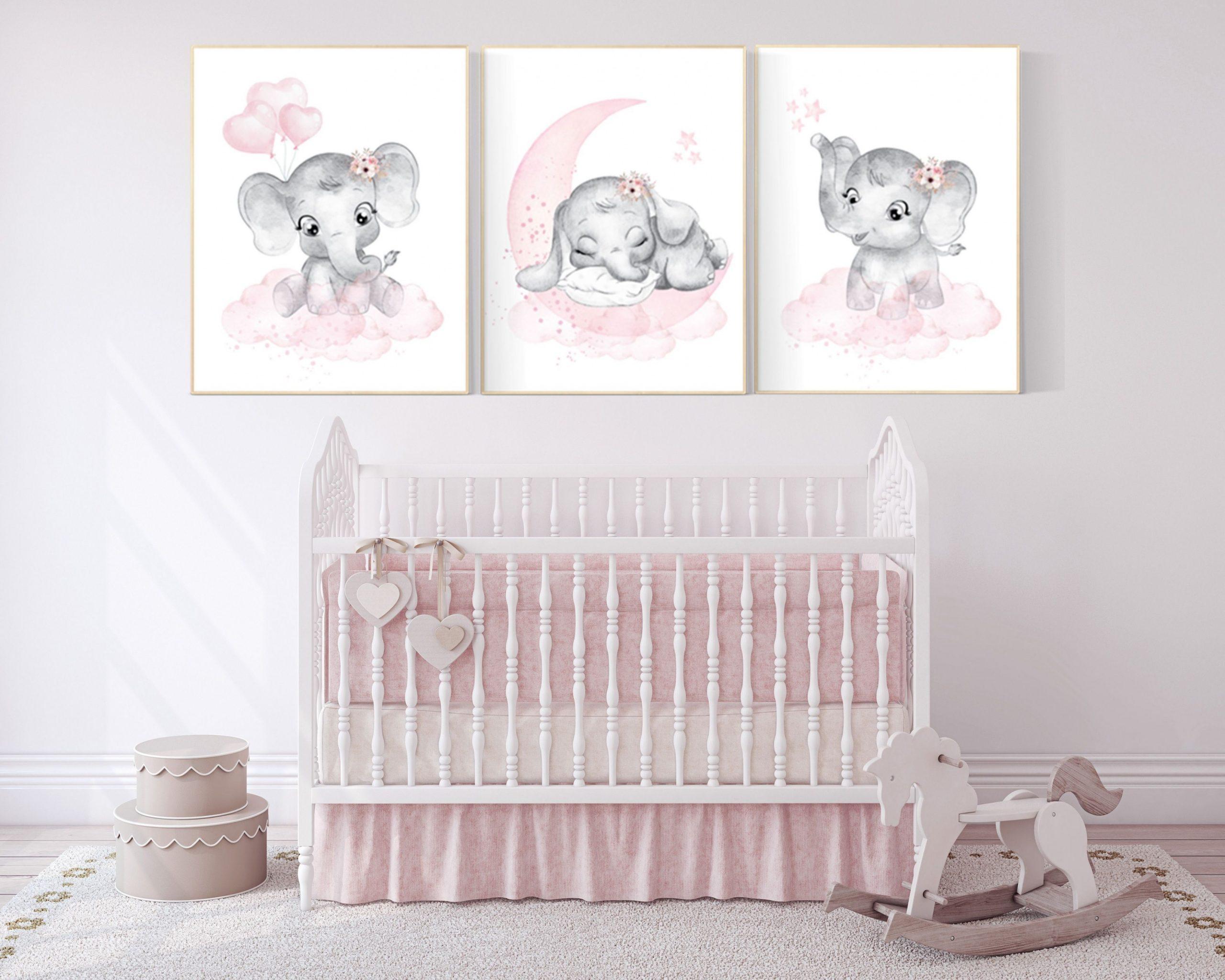 Elephant nursery art elephant nursery print pink and grey  Etsy  - Baby Room Elephant Theme