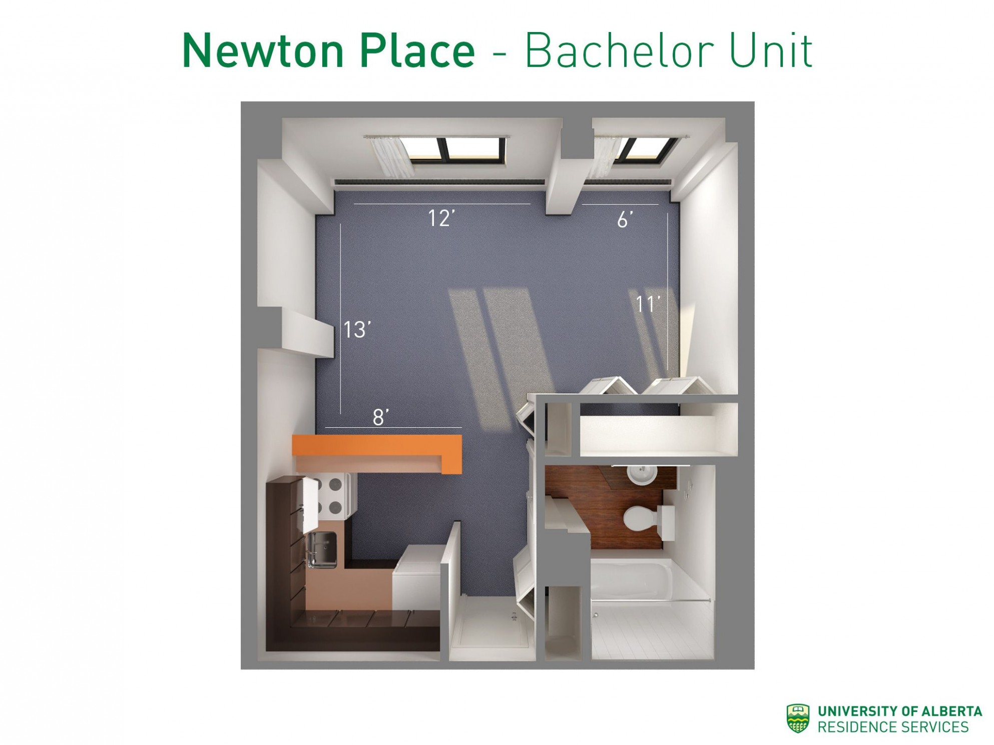 Floorplan with dimensions for bachelor units in Newton Place  - Apartment Unit Design