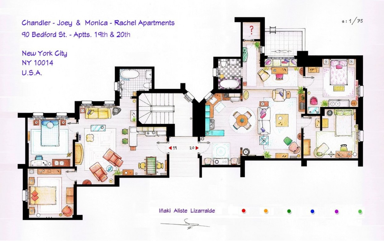 From Friends to Frasier: 8 Famous TV Shows Rendered in Plan  - Apartment Design Floor Plan