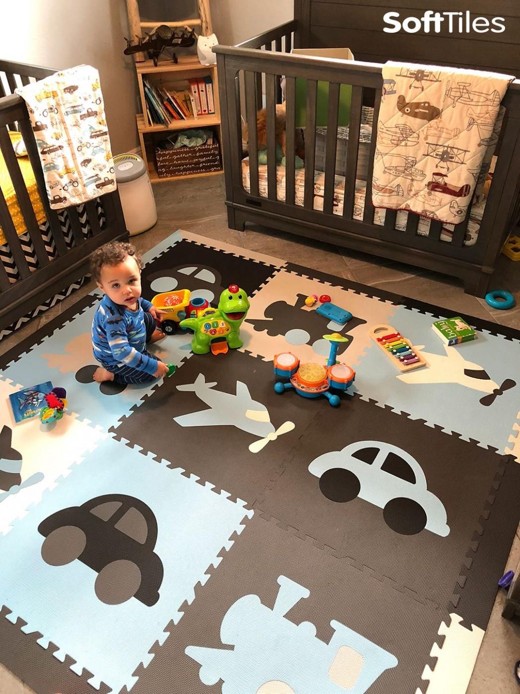 Fun transportation theme play mats for a nursery or playroom  - Baby Room Floor Mat