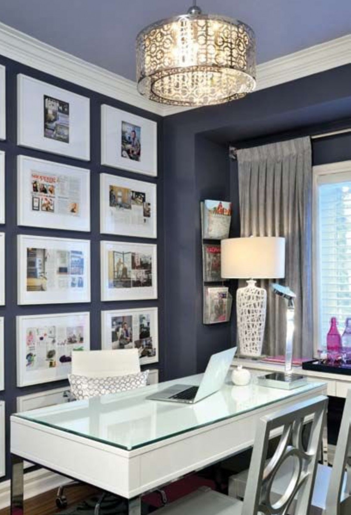Gallery wall on dark wall  Home office decor, Home office design  - Home Office Ideas Gallery