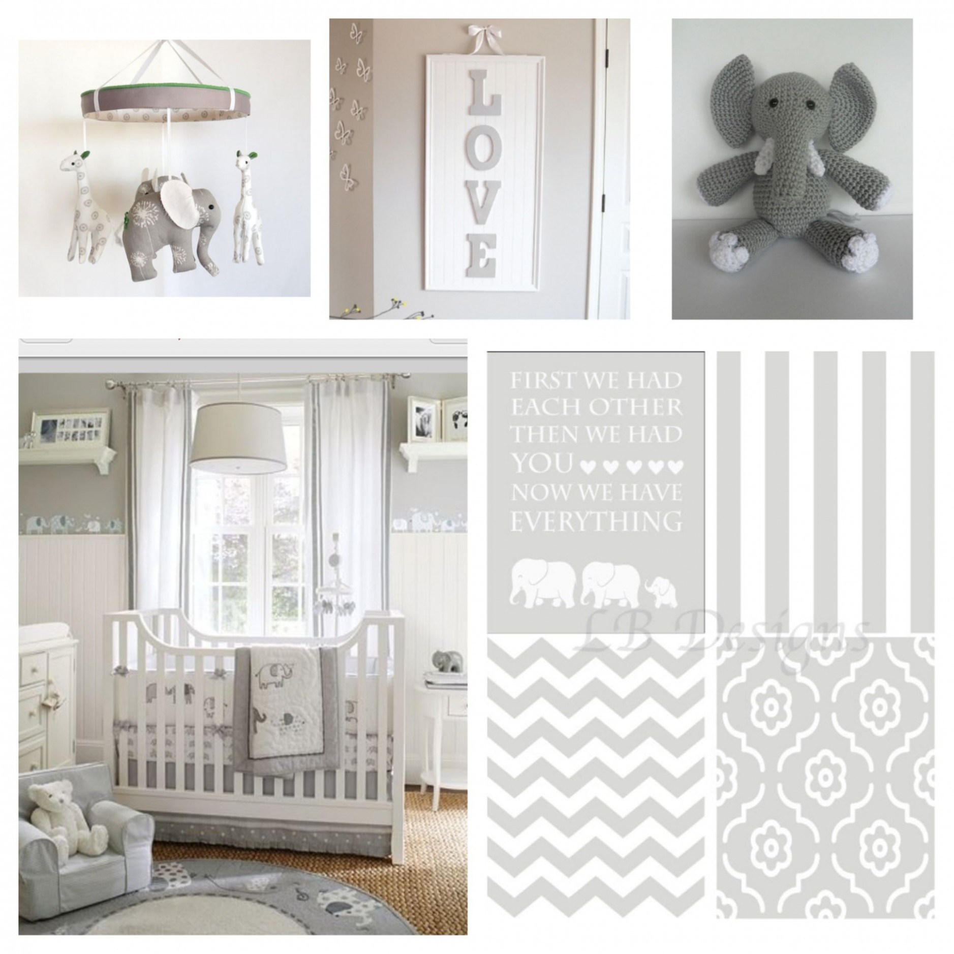 Gender Neutral Gray and White Elephant Nursery