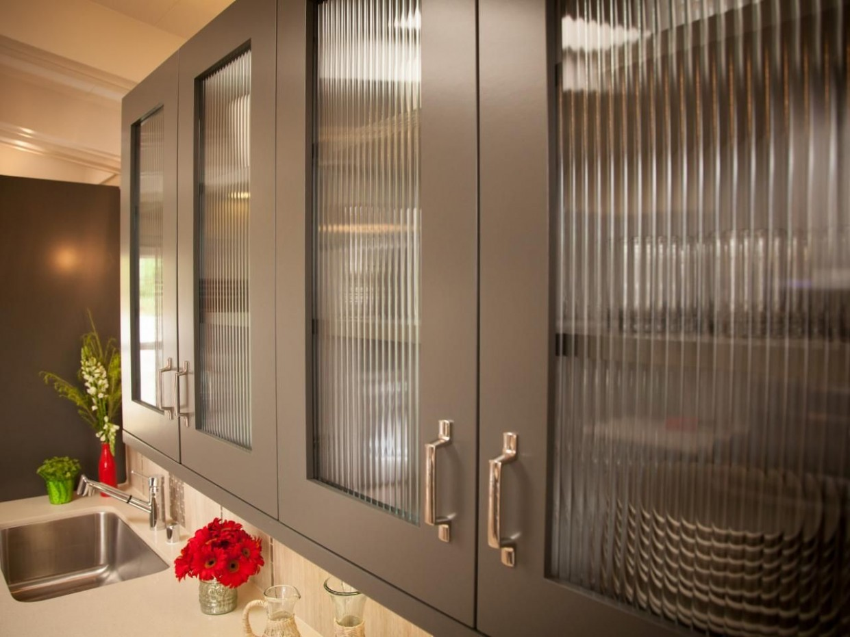 Glass Cabinet Doors in Gray Kitchen for Modern Look  Glass  - Frosted Cabinets Kitchen