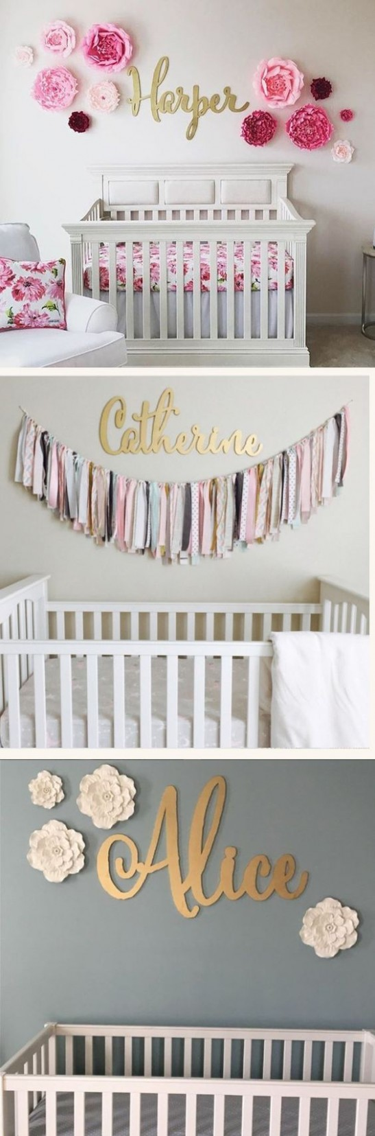Gorgeous nursery room decoration, custom gold name signs