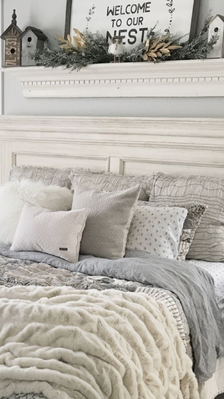 Gray and cream farmhouse bedding in master bedroom  - Bedroom Quilt Ideas