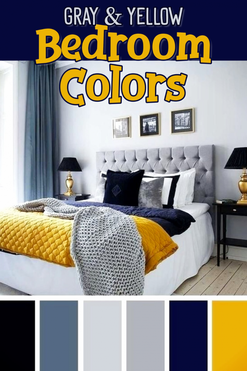 Gray and Yellow Bedroom Ideas -Yellow and Grey Bedding, Accent  - Bedroom Ideas Yellow And Blue