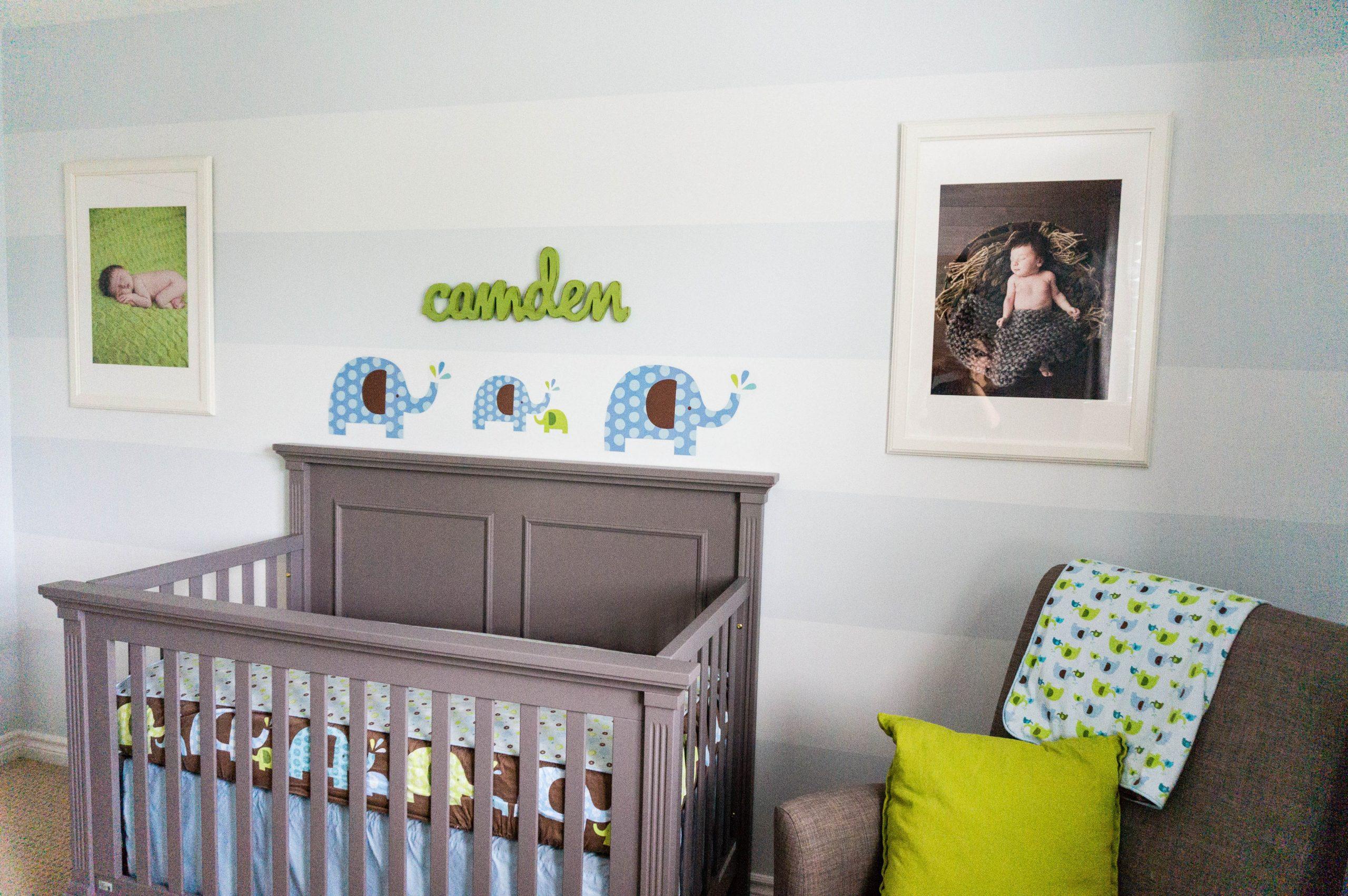 Green, Blue & Gray Elephant Themed Nursery - Project Nursery - Baby Room Elephant Theme