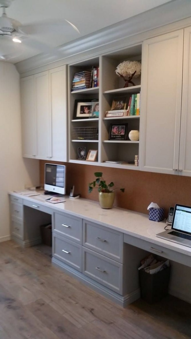 grey cabinets - want a less utilitarian look then this  Home  - Home Office Ideas With Kitchen Cabinets