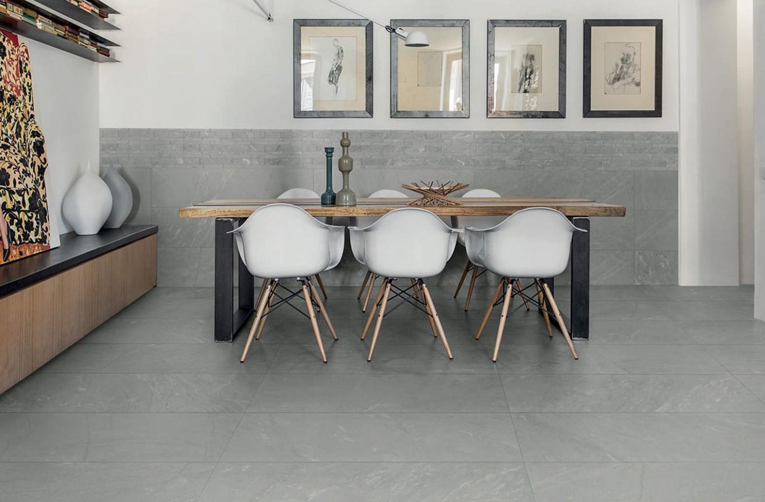 Grey floor with wood detailing