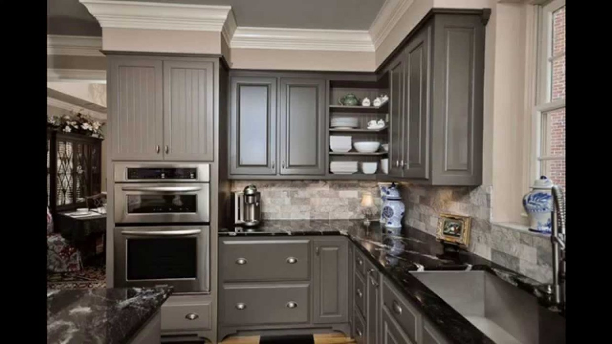 Grey kitchen cabinets - Youtube Painted Kitchen Cabinets