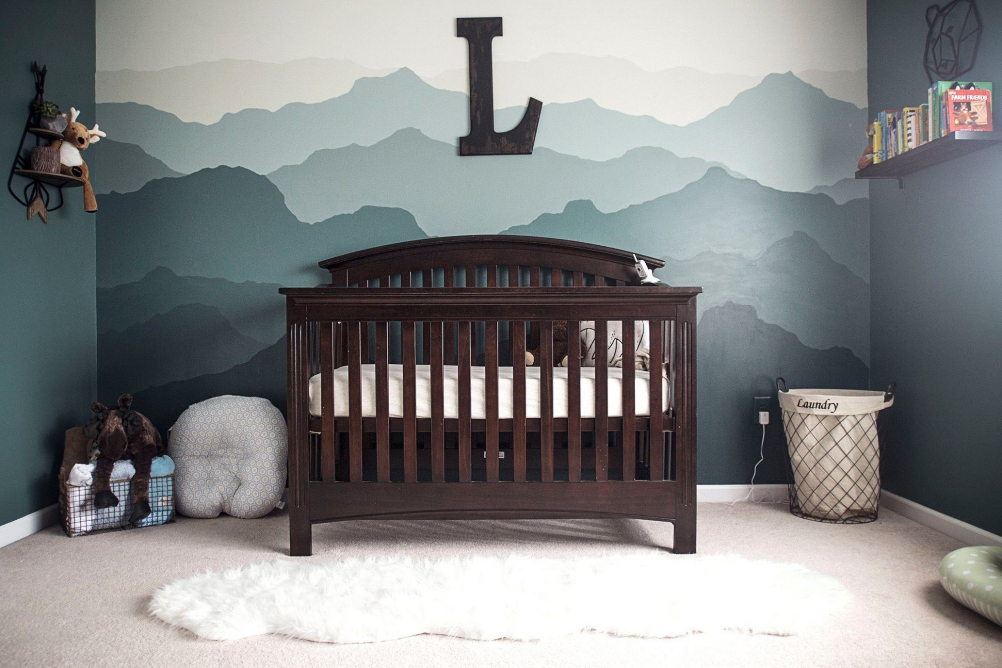Grey, white, navy blue woodland nursery for boy