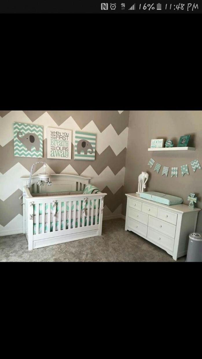 Grey/White/Teal Elephant Themed Nursery  Elephant baby rooms  - Baby Room Elephant Theme