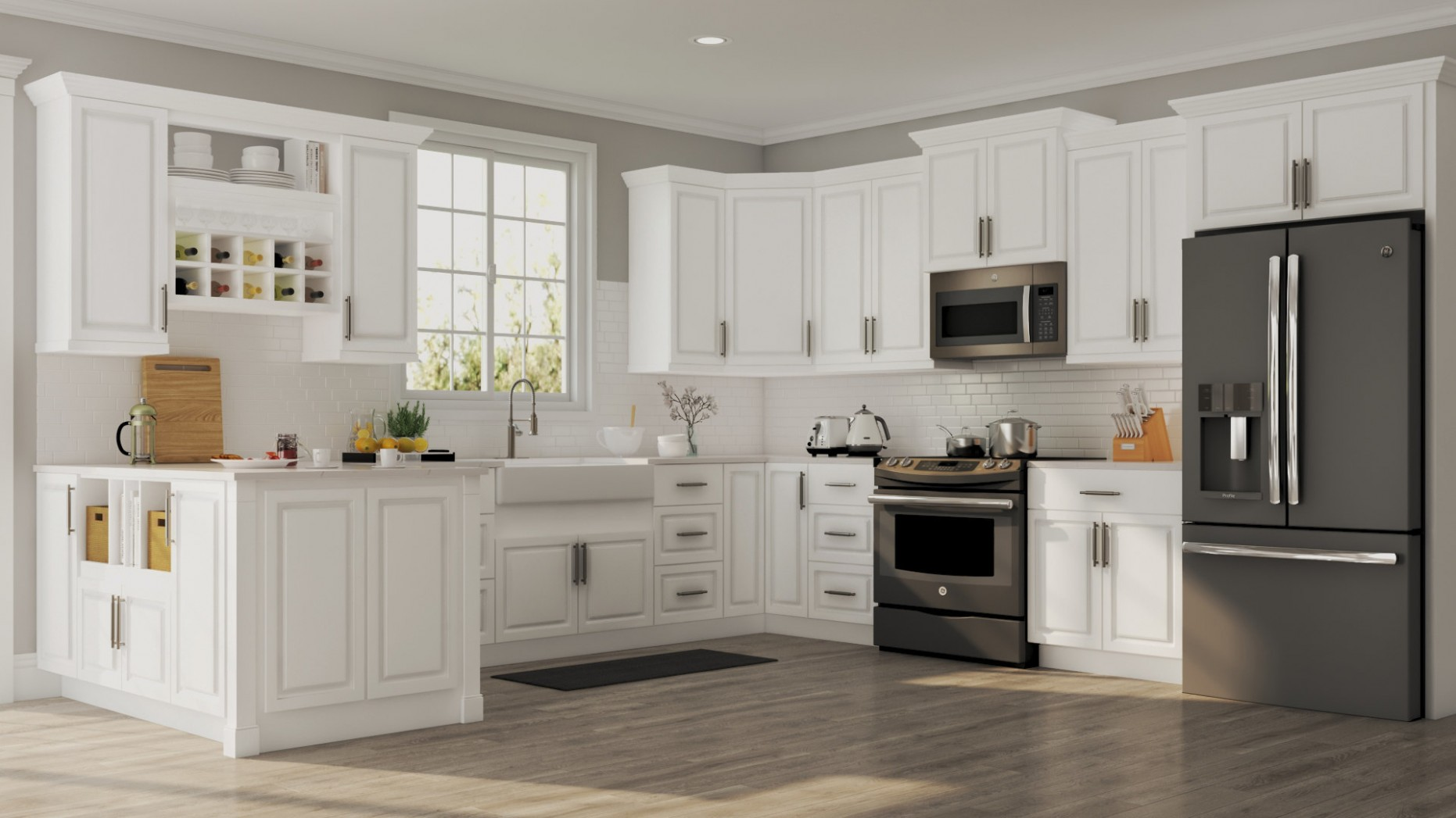 Hampton Base Cabinets in White – Kitchen – The Home Depot - Long Base Kitchen Cabinets