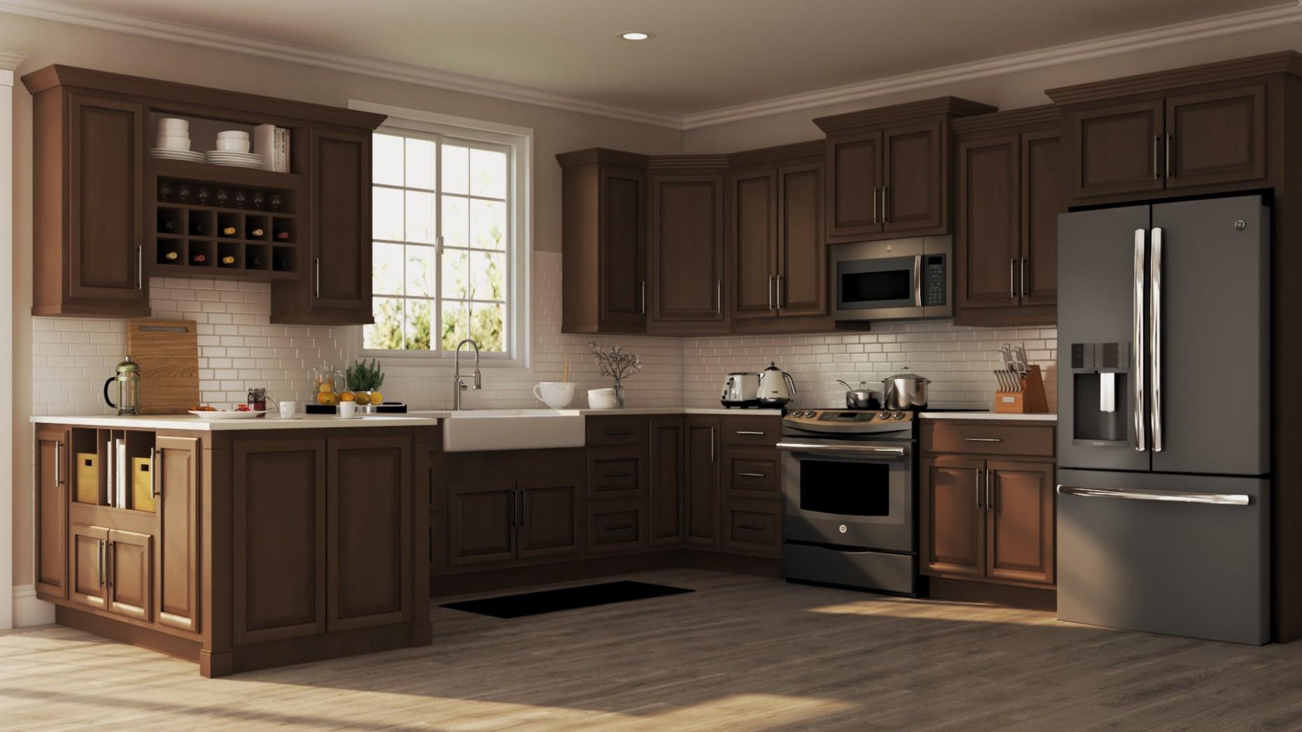 Hampton Base Kitchen Cabinets in Cognac – Kitchen – The Home Depot - Long Base Kitchen Cabinets
