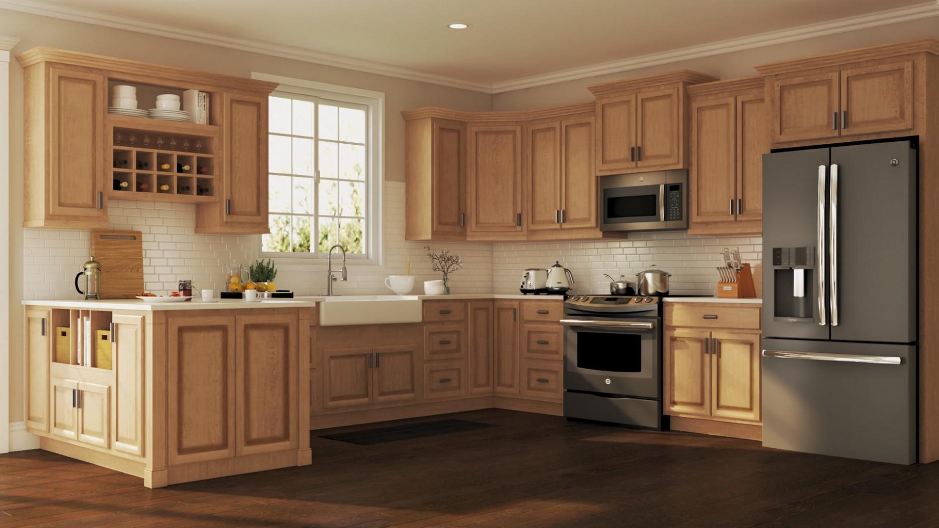 Hampton Wall Kitchen Cabinets in Medium Oak – Kitchen – The Home Depot - Buy Kitchen Wall Cabinets Online